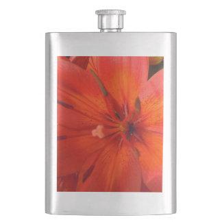 Fiery Orange & Red Lily II Hip Flask