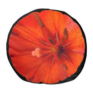 Fiery Orange & Red Lily II Pouf
