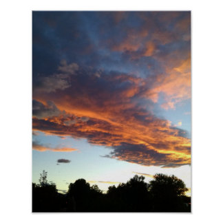 Fiery orange sunset, above dark silhouetted trees poster