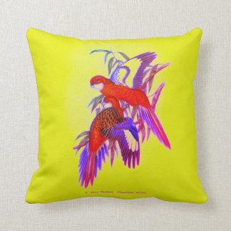 Fiery Parakeet Throw Pillow