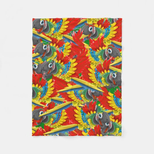 Fiery Parrots Fleece Blanket