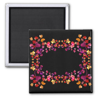 Fiery Petals Name Frame Square Magnet