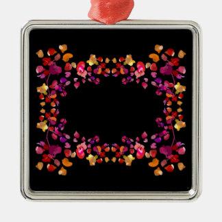 Fiery Petals Pattern Silver-Colored Square Ornament