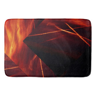 Fiery Red and Black Abstract Burning Sky Bath Mat