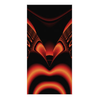 Fiery Red and Black Fractal. Photo Greeting Card