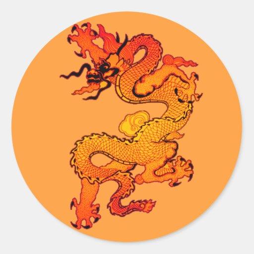 Fiery Red and Orange Dragon Art Sticker