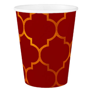 Fiery Red Gold Royal Indian Arabian Theme Moroccan Paper Cup