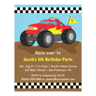 """Fiery Red Monster Truck Birthday Party 4.25"""" X 5.5"""" Invitation Card"""