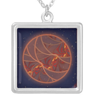 Fiery Red Moon Silver Plated Necklace