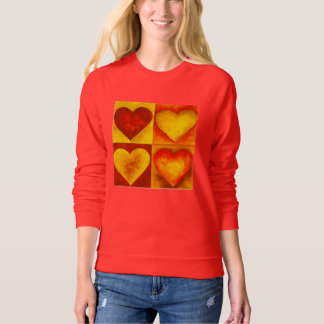 Fiery Red Orange Heart Hearts Love Sweatshirt