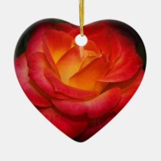 Fiery Red Rose Ceramic Heart Ornament