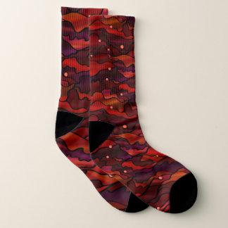 Fiery Red Seascape Design Socks