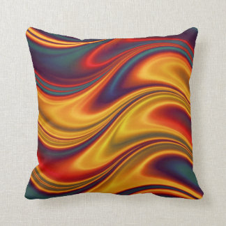 Fiery red yellow blue waves throw pillow