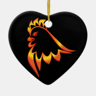 Fiery Rooster Ceramic Heart Ornament