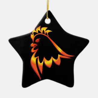 Fiery Rooster Ceramic Star Ornament