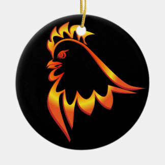 Fiery Rooster Round Ceramic Ornament