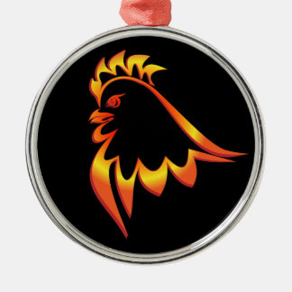 Fiery Rooster Silver-Colored Round Ornament