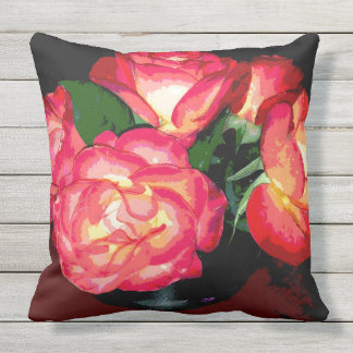 Fiery Roses Outdoor Pillow