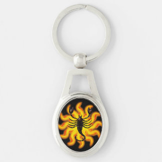 Fiery Scorpio Silver-Colored Oval Keychain
