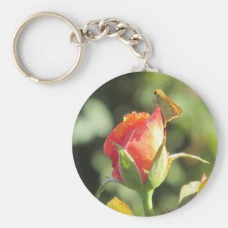 Fiery Skipper Butterfly on Rosebud Basic Round Button Keychain
