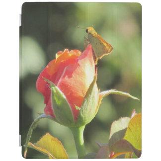 Fiery Skipper Butterfly on Rosebud iPad Cover