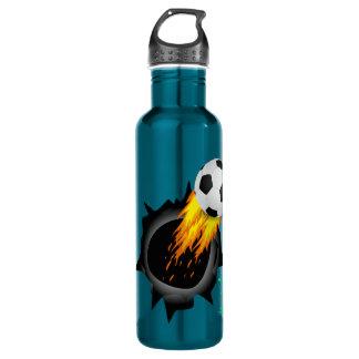 Fiery Soccer Ball Water Bottles