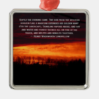 Fiery Sunset In Caribou, Maine Silver-Colored Square Ornament