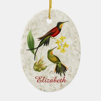 Fiery Topaz Hummingbirds Ceramic Oval Ornament