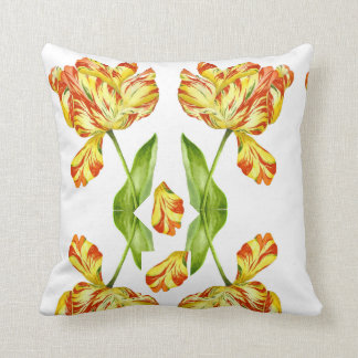 Fiery Tulips on a Throw Pillow