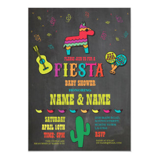 Fiesta Baby Shower Couples Chalk Mexican Invite