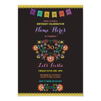Fiesta Birthday Floral Mexico 30th Invitation
