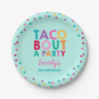 """Fiesta Birthday Paper Plate 7"""" Taco Bout A Party"""