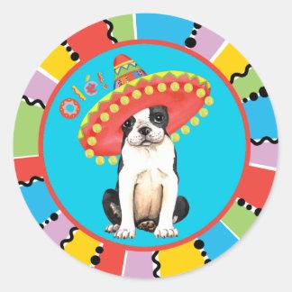 Fiesta Boston Terrier Round Sticker
