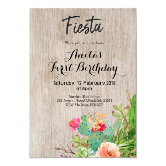 Fiesta Cactus First Birthday Invitation