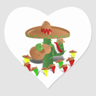 Fiesta Cactus with Guitar & Dancing Peppers Heart Sticker