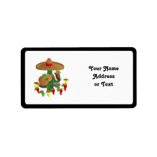 Fiesta Cactus with Guitar & Dancing Peppers Label