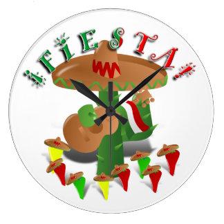 Fiesta Cactus with Guitar & Dancing Peppers Large Clock