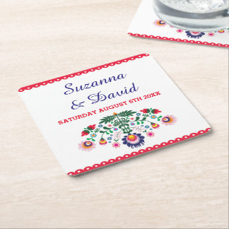 Fiesta Coasters Mexican Red Drinks Wedding Party