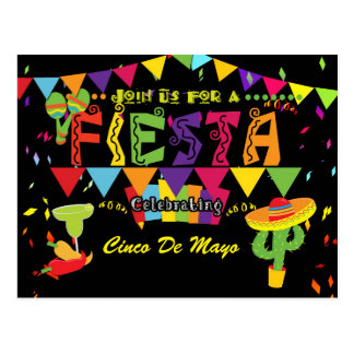 Fiesta Colorful Cinco De Mayo Postcard Invitation