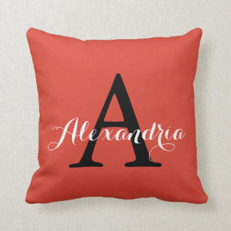 Fiesta Fiery Bright Red Solid Color Monogram Throw Pillow