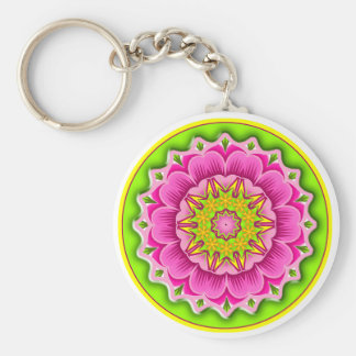 Fiesta Flower Round Keychain