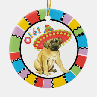Fiesta Mastiff Round Ceramic Ornament