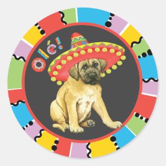 Fiesta Mastiff Round Sticker