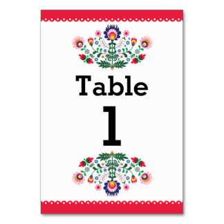 Fiesta Mexican Pattern Table Red Number Wedding Card