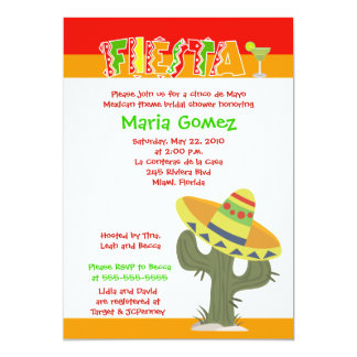 Fiesta Mexican Theme 5x7 Bridal Shower Invite