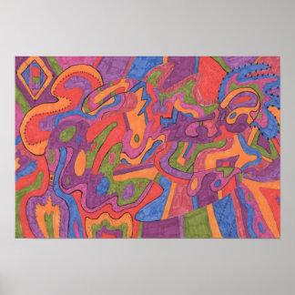 Fiesta, Original Abstract 19x13 Poster