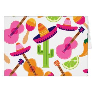 Fiesta Party Sombrero Cactus Limes Peppers Maracas Card