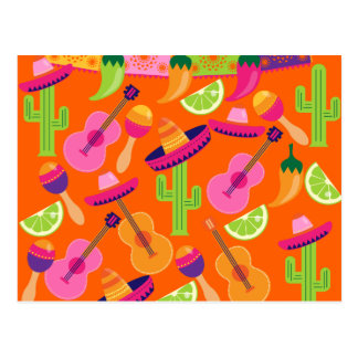 Fiesta Party Sombrero Cactus Limes Peppers Maracas Postcard