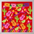 Fiesta Party Sombrero Limes Guitar Maraca Saguaro Poster