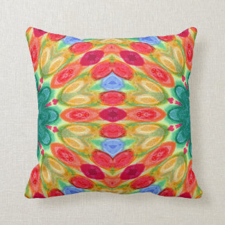 fiesta red, blue, green, yellow and orange batik throw pillow